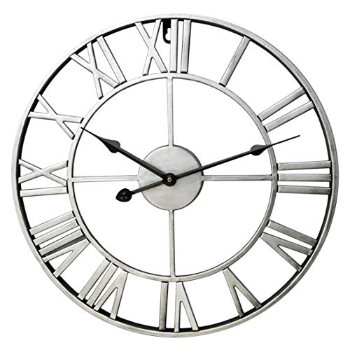 PeleusTech Wall Clock, 24 Inch/60 CM Big Silent Metal Vintage Round Wall Clocks Battery Operated with Roman Numeral - (Silver A)