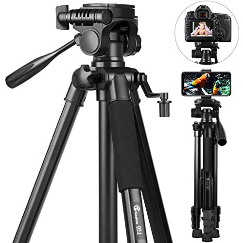 58 inch Camera Tripod Stand, GooFoto 6.6lb/3KG Load Portable Lightweight Aluminum Travel Tripod for iPhone/Phone/Nikon/DSLR/Sony/Canon with Carry Bag & Phone Clip
