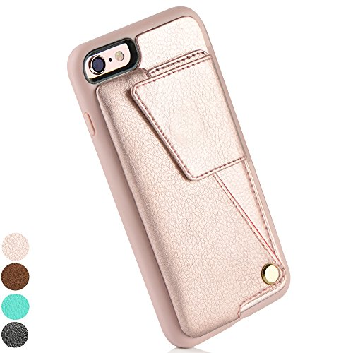 iPhone 6 Wallet Case, iPhone 6s Case, ZVEdeng iPhone 6 Case with Credit Card Holder, iPhone 6 Case for Women, Shockproof Cover, Durable and Slim Handbag Purse 4.7inch-Rose Gold