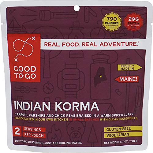 GOOD TO-GO Indian Korma - Double Serving   Dehydrated Backpacking and Camping Food   Lightweight   Easy to Prepare