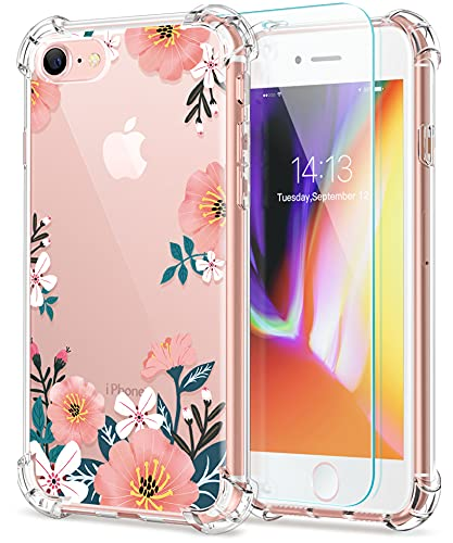 GVIEWIN for iPhone 8 case/iPhone 7 case/iPhone SE 2020 case with Screen Protector,Clear Flower Floral for Girls Woman, Soft TPU Shockproof Protective Cover for iPhone SE 2nd Gen/7/8(Summer Blossom)