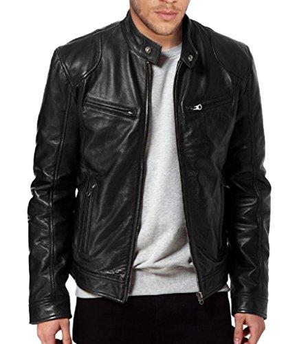 The Leather Factory Men's SWORD Black Genuine Lambskin Leather Biker Jacket M Black
