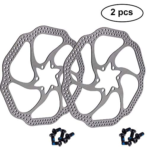 180mm Disc Brake Rotor with 6 Bolts Stainless Steel Bicycle Rotors Fit for Road Bike, Mountain Bike, MTB, BMX (Stainless Steel, 2pcs)