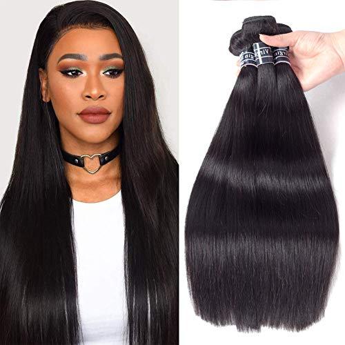 Amella Hair Brazilian Straight Virgin Hair (14' 16' 18',300g) 8A 100% Unprocessed Brazilian Straight Virgin Hair Extension Weaves Natural Black Color