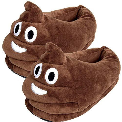 YINGGG Unisex Cute Poop Emoji Slippers Plush Fluffy Comfortable House Shoes for Kids Women Men