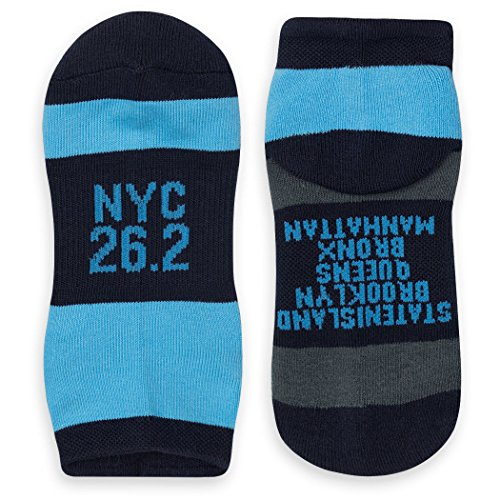 Inspirational Athletic Running Socks | Women's Woven Low Cut | NYC 26.2 | Blue/Black