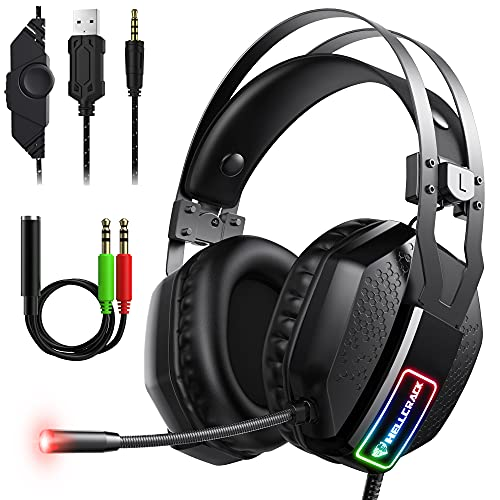 Mifanstech V-10 Gaming Headset for Xbox One PS4 PS5 PC with 7.1 Surround Sound and 50mm Drivers, Over Ear 3.5mm Stereo Wired Headphones with Noise Cancelling Mic for Laptop Mac