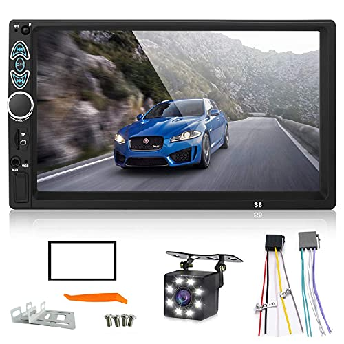 Double Din Car Stereo, Upgraded Version 7 Inch Touch Screen Car MP5 Player Support Backup Rear View Camera FM Radio Car Audio with Hands-Free Mirror Link
