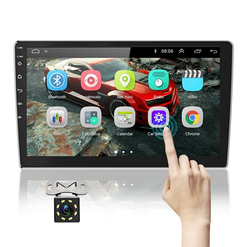 Podofo 10.1 Inch Android Car Stereo Double Din GPS Car Radio HD 2.5 D Tempered Glass Mirror Multimedia MP5 Player Support Bluetooth WiFi FM Radio Dual USB Mirror Link with Backup Camera