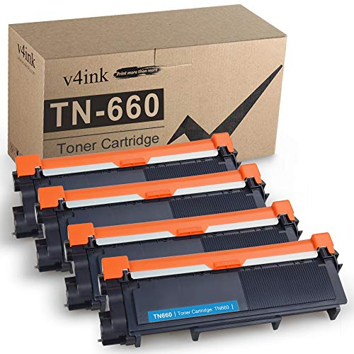 V4INK Compatible Toner Cartridge Replacement for Brother TN630 TN660 TN-660 (Black, 4-Pack) for use in Brother HL-L2300D HL-L2320D HL-L2340DW HL-L2360DW HL-L2380DW MFC-L2720DW MFC-L2740DW DCP-L2540DW