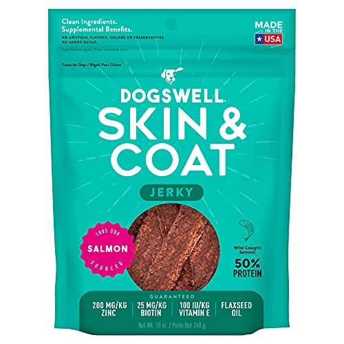 Dogswell Skin and Coat Grain-Free Salmon Jerky for Dogs, 10 Ounces, Model: 842225