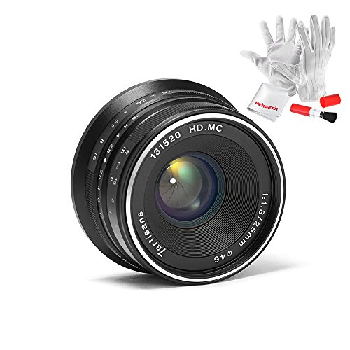 7artisans 25mm F1.8 APS-C Large Aperture Manual Focus Fixed Lens for Olympus and Panasonic Micro Four Thirds MFT M4/3 Cameras - Black