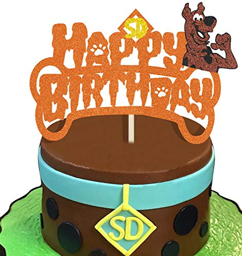KAPOKKU Orange Single-sided Glitter Scooby doo Cake Topper for Halloween Theme Party Decoration
