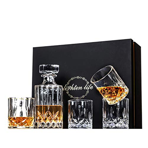 Lighten Life 5-Piece Whiskey Decanter Set,Crystal Whiskey Decanter with Glass in Unique Box,Bourbon Decanter and Glass Set,Whiskey Decanter Sets for Men,Whiskey Glasses Decanter Set for Scotch,Liquor