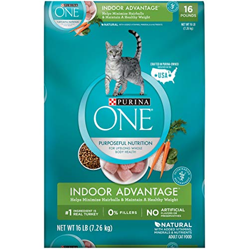 Purina ONE Hairball, Weight Control, Natural Dry Cat Food, Indoor Advantage - 16 lb. Bag