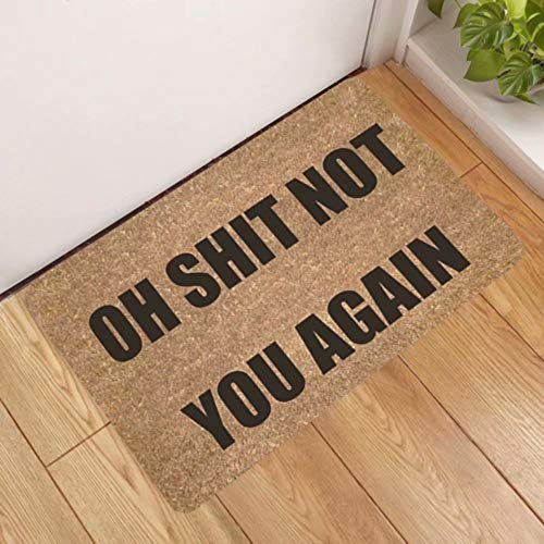 Oh Shit Not You Again Door Mat, Front Door Mat Absorbs Muddy Shoes, Pet Paws, Wet Feet, 31.4X19.7 Inch