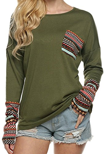 POGTMM Women Long Sleeve O-Neck Patchwork Basic Tops (L, Army Green)