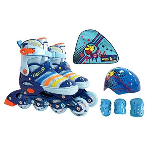 Mpoutik Boys Girls Adjustable Inline Skates Roller Skates 2 in 1 Convertible Speed Roller Skates Shoes for Children Kids Teens (Blue(Little Bees), Medium)