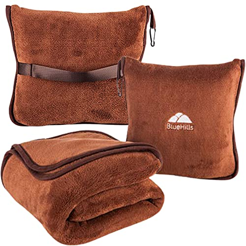 BlueHills Premium Soft Travel Blanket Pillow Airplane Blanket Soft Bag Pillow case with Hand Luggage Belt and Backpack Clip Compact Pack Large Blanket Throw Air Plane Flight Travel (Brown T009)