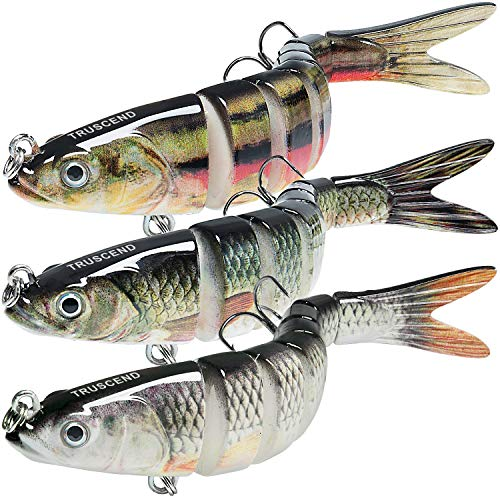 TRUSCEND Fishing Lures for Bass Trout 5.4' Multi Jointed Swimbaits Slow Sinking Bionic Swimming Lures Bass Freshwater Saltwater Bass Fishing Lures Kit Lifelike (Combo-H)