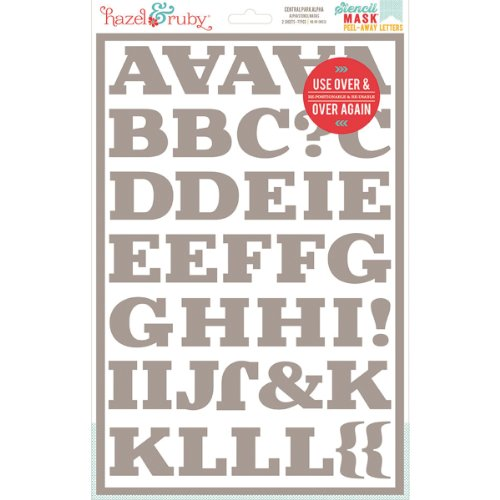 Hazel & Ruby Stencil Mask Peel Away Alphabet 12 by 8-Inch Sheets with 2-Inch Letters, Central Park, 2-Pack