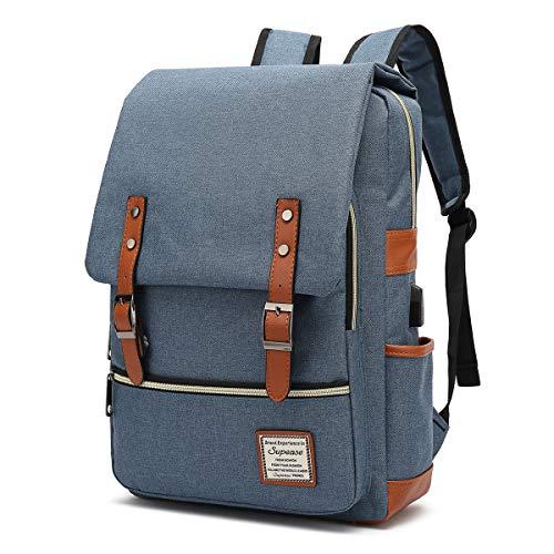 SUPEASE Vintage Slim College School Laptop Backpack with USB Charging Port for Women Men, Blue