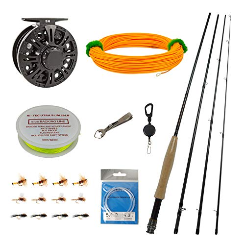 Z Aventik Fly Fishing Combo IM8 Fly Rod 5/6WT Graphite Large Arbor Fly Fishing Reel with Line Kit Fishing Rod Combo (9'0'' LW5/6 Rod Combo)