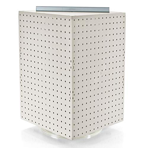 Azar Displays 701414-WHT Pegboard 4-Sided Revolving Counter Display, White Solid Color