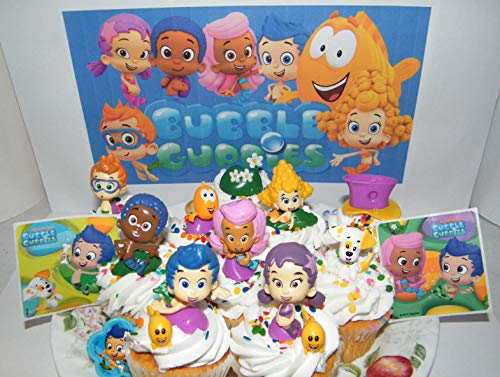 Bubble Guppies Deluxe Cake Toppers Cupcake Decorations 15 Set with 12 Figures, Stickers and BGRing Featuring Gil, Molly, Bubble Puppy and Much More!