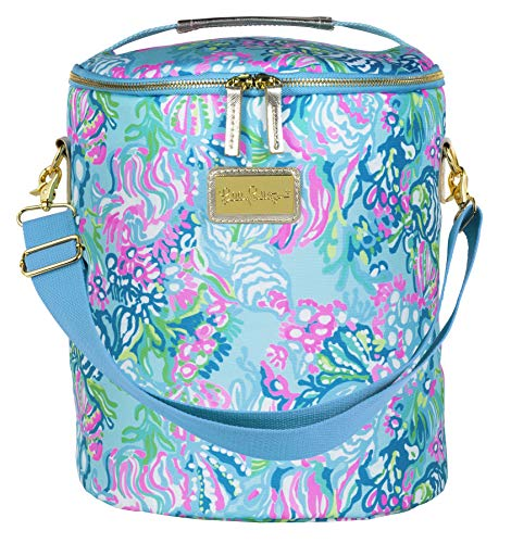 Lilly Pulitzer Blue/Green Insulated Soft Beach Cooler with Adjustable/Removable Strap and Double Zipper Close, Aqua La Vista