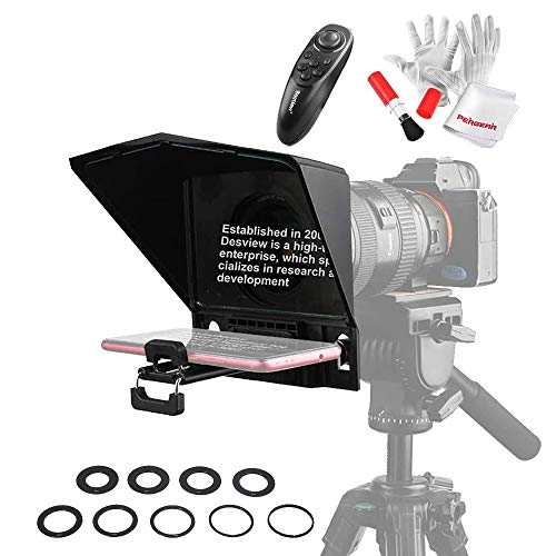 Desview T2 Portable Teleprompter for Smartphone Tablet DSLR Cameras, Supports Wide Angle Lens, APP Compatible with iPad/Android, Comes with Remote Controller, Lens Adapter Rings
