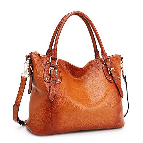 Kattee Women's Genuine Leather Handbags Shoulder Tote Organizer Top Handles Crossbody Bag Satchel Designer Purse Large Capacity (X-Large, Sorrel)