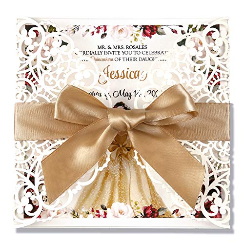 Doris Home Square Wedding Invitations Cards Kits Fall Bridal, Baby Shower Invite, Birthday Invitation Wedding Rehearsal Dinner Invites, Autumn Engagement Bach with Gold Bowknot Hollow,50pcs