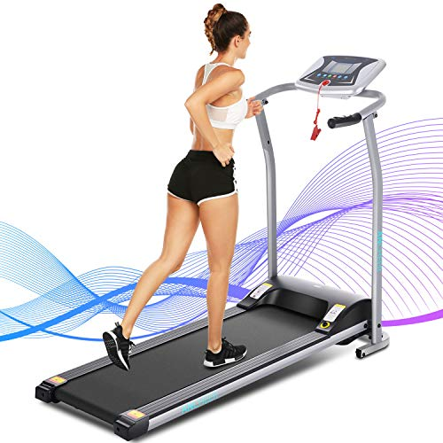 ANCHEER Treadmill for Home Use,Folding Electric Treadmill with LCD Monitor Motorized,Pulse Grip and Safety Key,Compact Treadmill Exercise Machine for Small Spaces,US Stock (Silver)