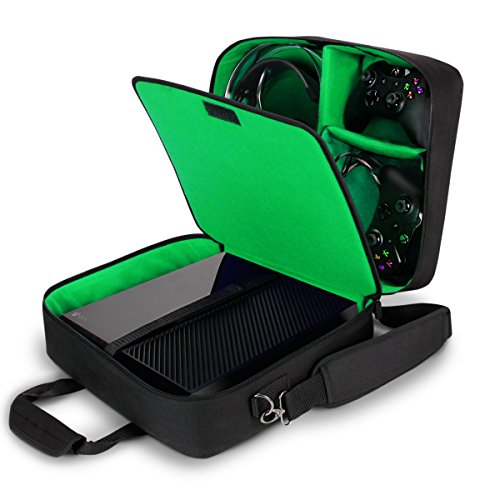 USA GEAR Console Carrying Case Compatible with Xbox One and Xbox 360 with Accessory Storage for Controllers, Cables, Headsets and Padded Shoulder Strap - Fits All Xbox Models - Green