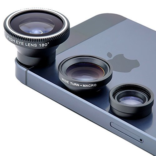 Clip-on 180 Degree 3 in 1 Fisheye/Wide Angle/Macro Camera Lens Kit for iPhone 5 5S 4 4S 6 Samsung Galaxy S5/S4/S3 Note 4/3/2 HTC BlackBerry Bold Touch, Sony Xperia, Motorola Android (Black)