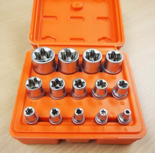 14 PC E Torx Star Female Bit Socket Set 1/2'/3/8'/1/4' Drive E4 -E24