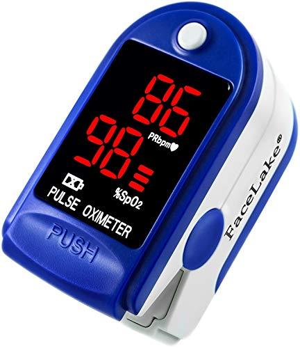 FaceLake  FL400 Pulse Oximeter Fingertip with Carrying Case, Batteries, Lanyard, and Warranty (Blue)
