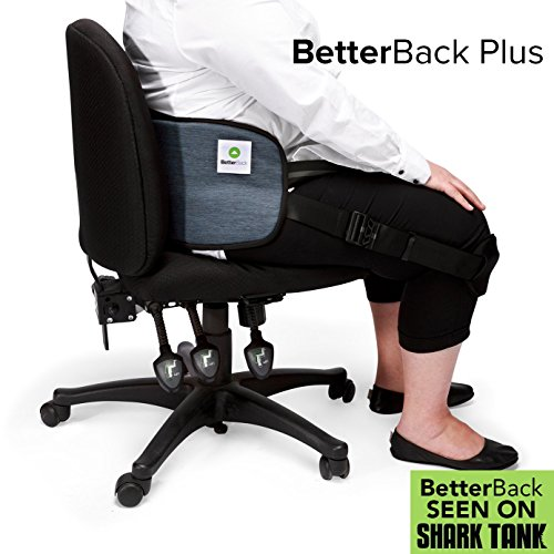 "BetterBack Plus - Ease Back Pain & Effortlessly Sit in Perfect Posture - With Nasa Memory Foam Padding - Make Every Chair Ergonomic - Fits Women and Men with 37-55"" Waist"