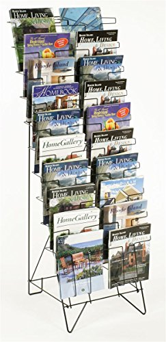 Tiered Black Wire Magazine Rack, 19-1/4'w x 25-1/2'd x 51-1/2'h, Free Standing Floor Fixture with 20 Stacked Pockets, Sign Slot