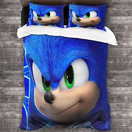 Comforter Bedding Set 3 Piece Set, Sonic The Hedgehog Microfiber Duvet Cover Set Comforter Cover with and 2 Pillow Shams with Zipper Closure Ultra, Twin (68x88 inches)