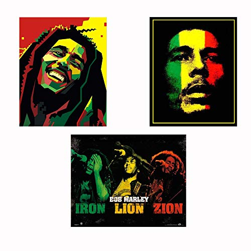 Bob Marley-Silhouettes Wall Art Set-3 Watercolor Abstract-8 x 10's Wall Prints-Ready To Frame-Classic Marley Faces Replica Prints. Home-Bar-Dorm-Man Cave Decor. Includes Iron-Lion-Zion Concert Images.