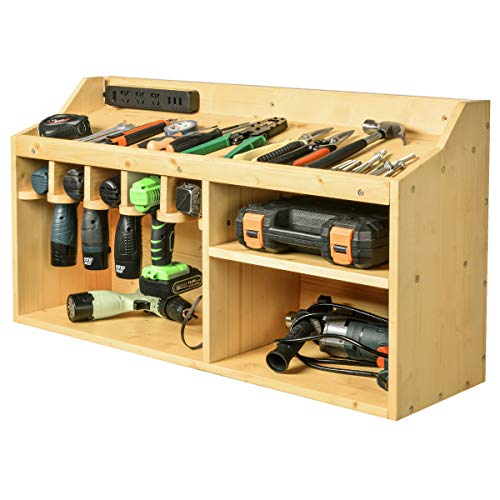 Power Tools Storage Organizers and Cabinets, Drill Charging Station, 5 Drill Hanging Slots, Wall Mount Impact Drivers Storage Dock with Widened Room for Circular Saw, Impact Wrench, Screwdriver Drill