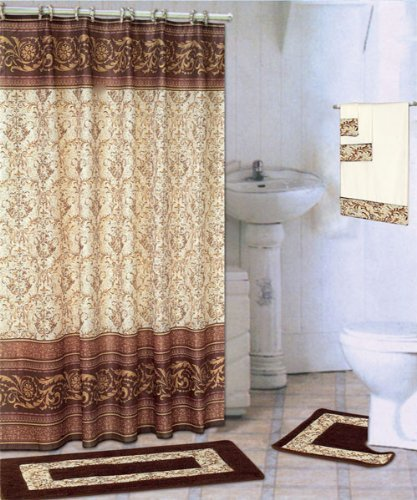 WPM Scroll Coffee 18-Piece Bathroom Set: 2-Rugs/mats, 1-Fabric Shower Curtain, 12-Fabric Covered Rings, 3-pc. Decorative Towel Set