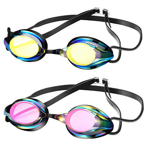 Freela 2 Pack Swim Goggles Adult Swimming Goggles for Men Women Youth, Anti-Fog Racing Goggles UV Protection Mirror No Leak Pool Goggles Competition Swim Goggles Triathlon Equipment with 3 Nose Pieces