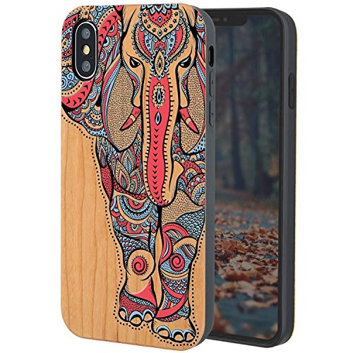 iProductsUS Elephant Wood Phone Case Compatible with iPhone Xs, X(10), Colorful Elephant Printed in USA, Working with Wireless Charging, TPU Protective Cover (5.8 inch)