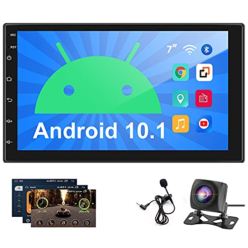 Hikity 2021 New Android 10.1 Double Din Car Stereo 7 Inch Touchscreen Radio with FM Bluetooth WiFi GPS Navigaion System Support SWC Mirror Link (Android/iOS) + Backup Camera + Microphone