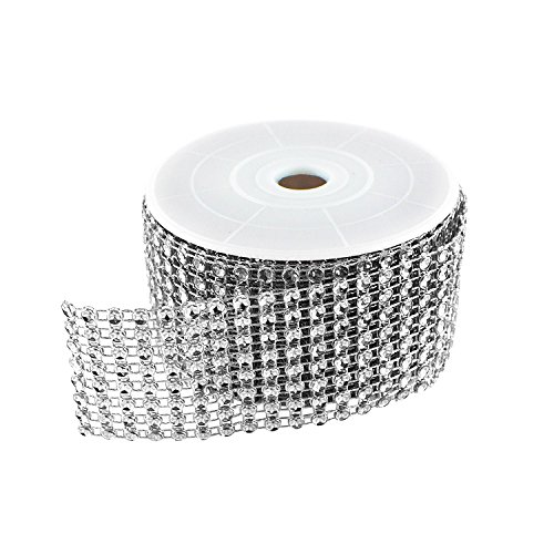 Diamond Sparkling Rhinestone Mesh Ribbon Roll for Arts & Crafts, Event Decorations, Wedding Cake, Birthdays, Baby Shower, 1.5' x 3 Yards, 8 Row, 1 Roll by Super Z Outlet (Silver)