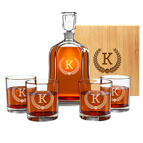 Custom Engraved Liquor Gifts, 9 Premium Designs & Set Options, Personalized Decanter, Scotch Glasses or Stone Set Perfect Gift for Groomsman, Weddings, Father's Day, Anniversaries & More - By Froolu