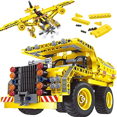 Gili STEM Building Toy for Boys 8-12 - Dump Truck or Airplane 2 in 1 Construction Engineering Kit (361pcs) Best Gift for Kids Age 6 7 8 9 10 11 12+ Years Old